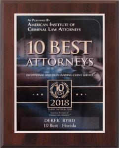 American Institute's 10 Best Attorneys Derek Byrd Sarasota Attorney