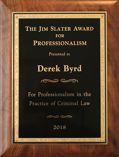 Jim Slater Award Sarasota Attorney Derek Byrd