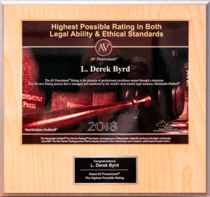 AV Preeminent ® Rating by Martindale-Hubbell ® Derek Byrd Sarasota Attorney